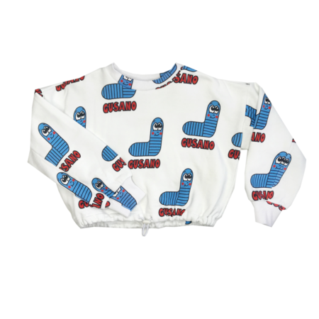 KIDS Banana Valentine Worms Crop Sweatshirt - BLUE
