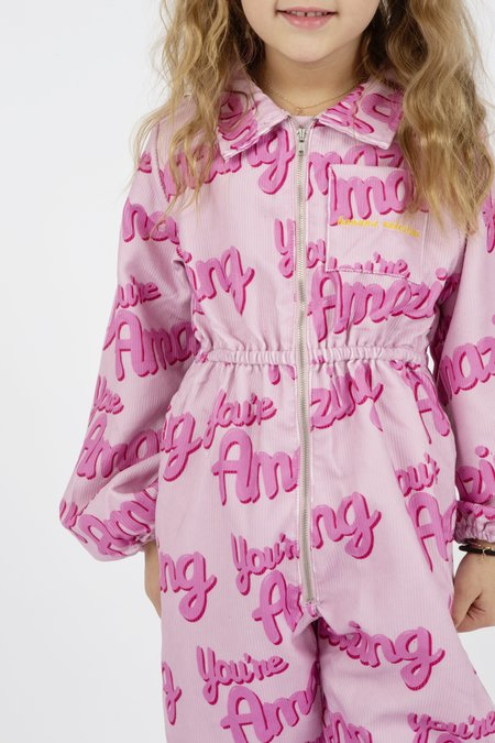 kids Banana Valentine You're Amazing Boiler Suit - pink