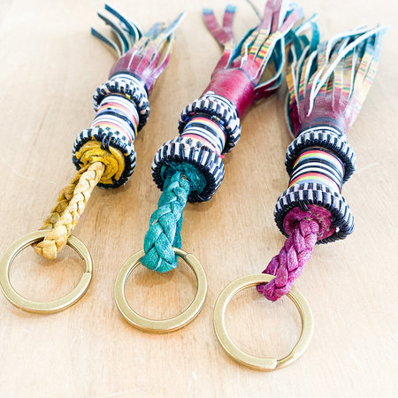 Mali Key Chain West African Folk Art Tassel Key Chain