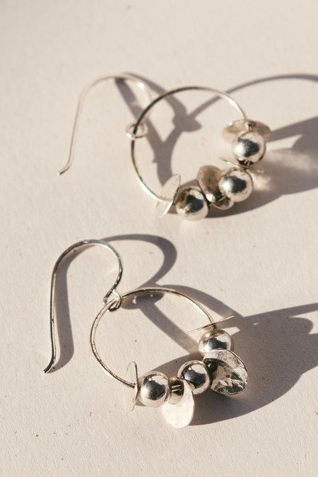 Blue & Blue Bead Hoop Earrings - Silver