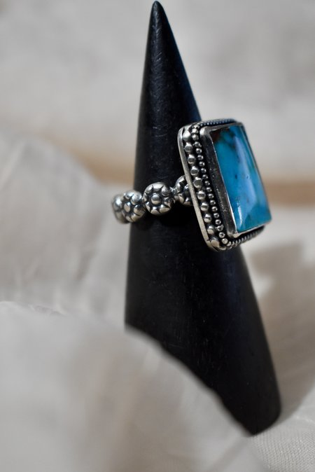 Blue & Blue Turquoise Rectangle Ring