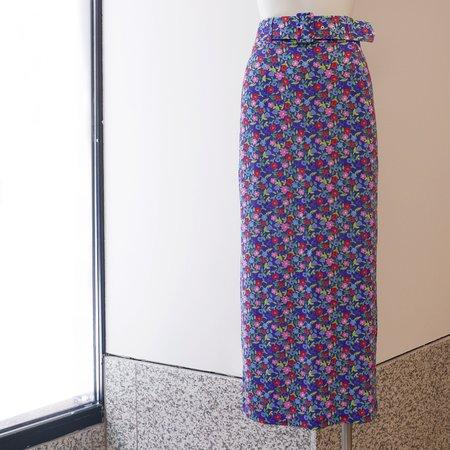 BERNADETTE Monica Jersey Pencil Skirt - Purple Flower
