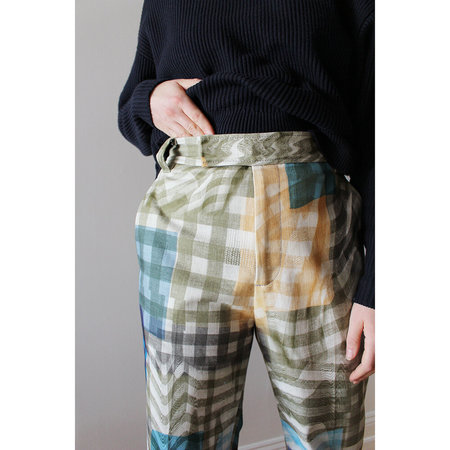 Lorod Barrack Trouser in Warped Gingham - Multi