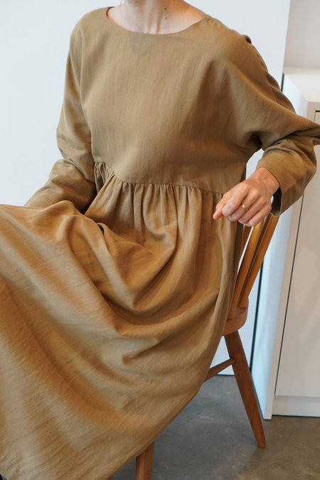 a mente Crew Neck Loose Fit Dress - Almond