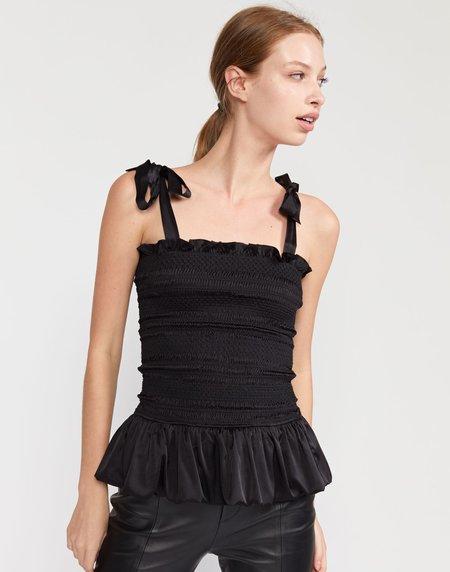 Cynthia Rowley Eve Silk Smocked Top - Black