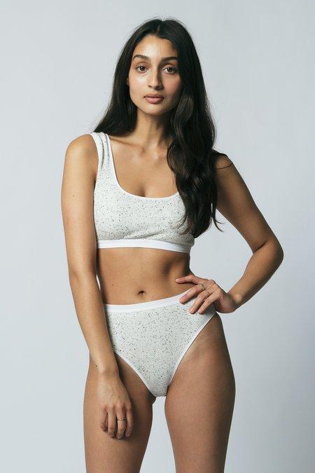 Carter High Bikini in Speckled White Sample