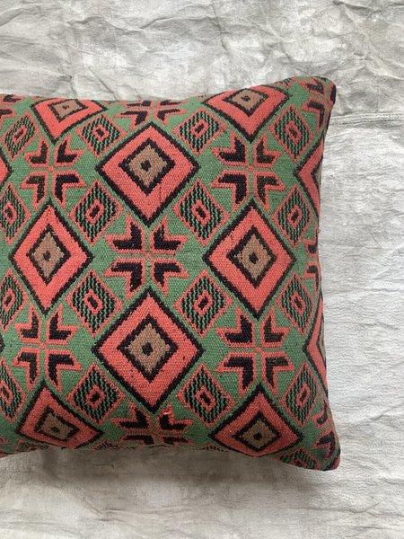 Cuttalossa & Co. Diamond Kilim Pillow 20 x 20'' - Coral/Green