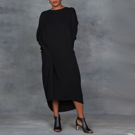 Black Crane Pleated Cocoon Dress in Black