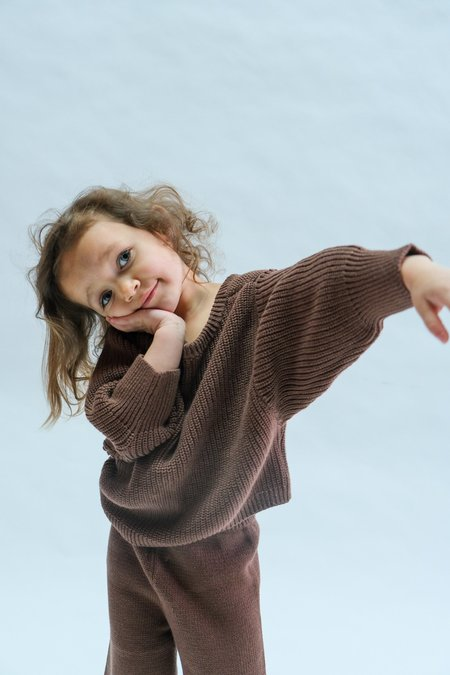 Kids Raised By Water Scoop Back Sweater - Chocolate