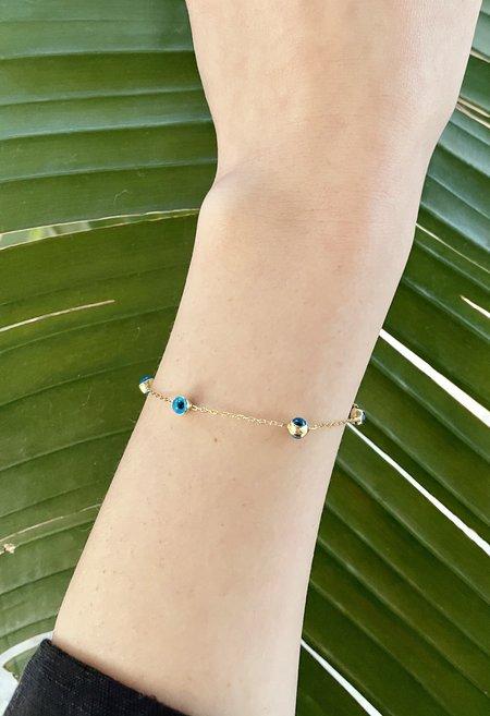 Nicole Kwon Concept Store Dainty Evil Eye Bracelet - Aqua