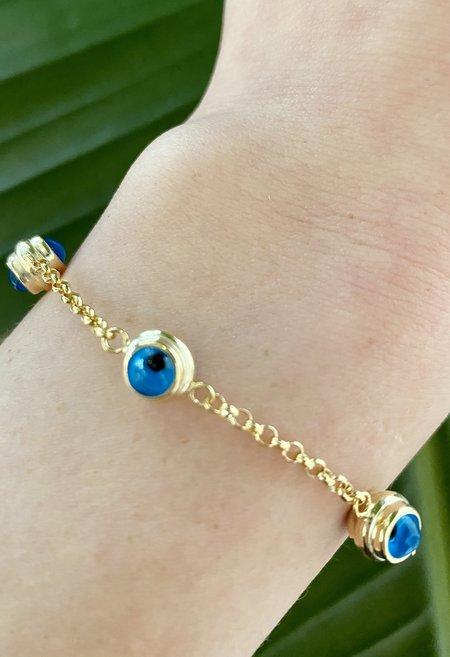 Nicole Kwon Concept Store Evil Eye Bracelet - Aqua
