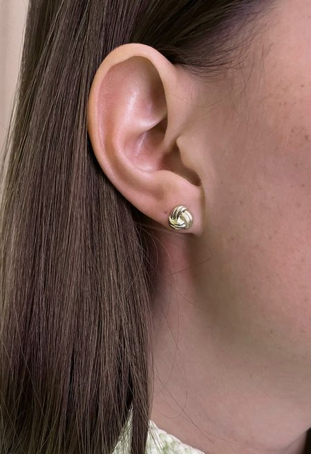 SS JEWELRY Solid 14K Gold Knot Stud