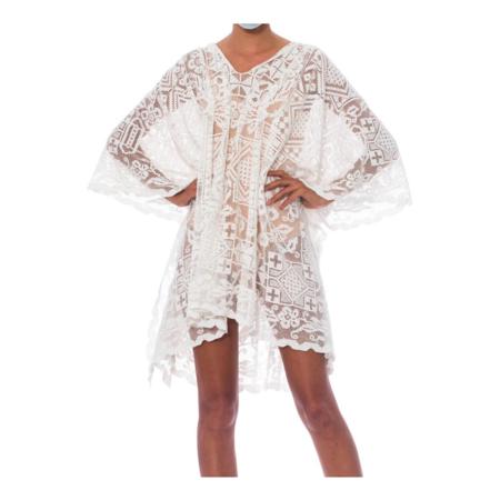 Vintage Morphew Cotton Handmade Filet Lace Tunic - White