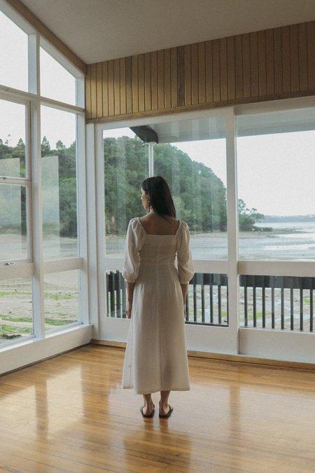 OVNA OVICH Virginia Dress - Ice White Tencel Linen
