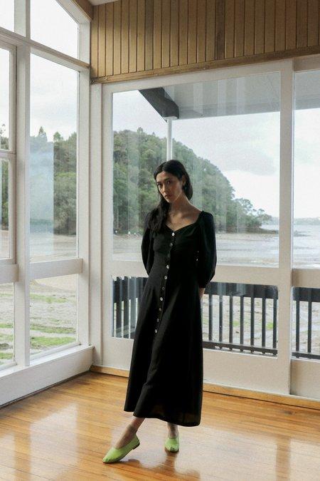 OVNA OVICH Virginia Dress - Midnight Black Tencel Linen
