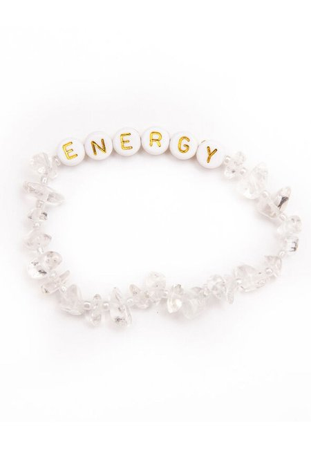 TBalance Energy Gold Clear Quartz Crystal Healing Bracelet - White