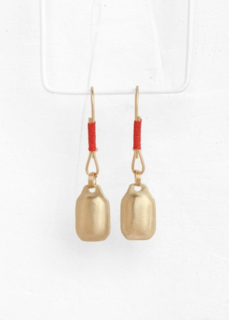 Agas & Tamar Rectangle Red String Earring - 14K gold