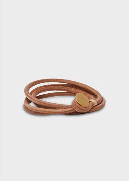 Agas & Tamar Leather Button Bracelet - 22k Gold