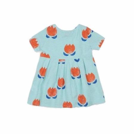 kids bobo choses chocolate flowers allover buttoned baby dress - blue