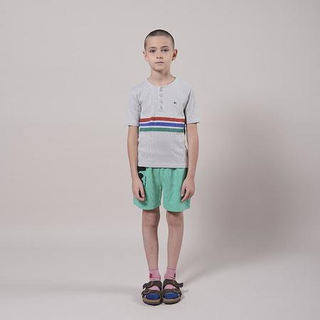 Kids Bobo Choses Henley T-shirt With Stripes - Grey