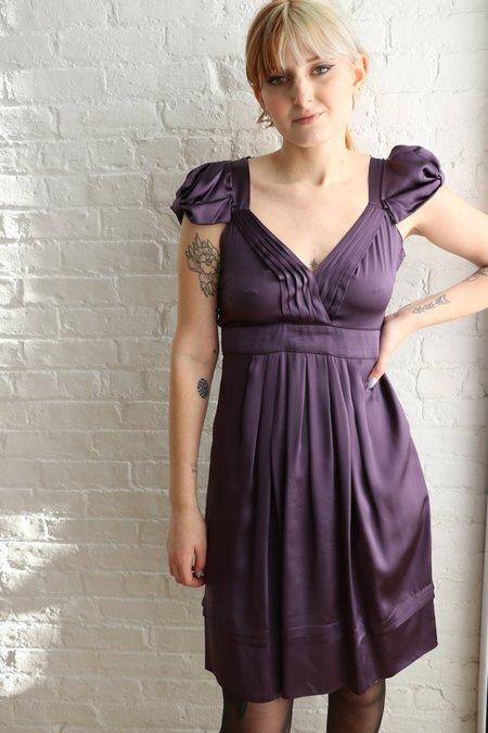 Pre-loved Prada Puff Sleeve Pleated Dress - Purple