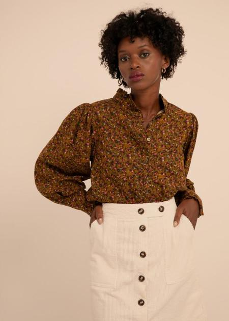 Mabel and Moss Carola Puff Sleeve Blouse - autumnal floral