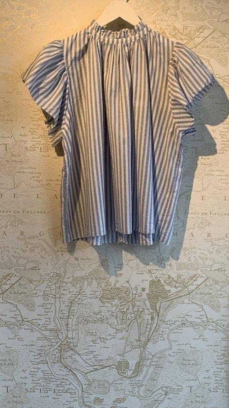 Trovata Carla High Neck Shirt - Blue Stripe