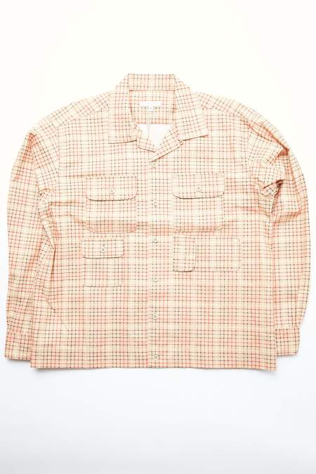 Engineered Garments Cotton Bowling Shirt - Beige Printed Tattersall