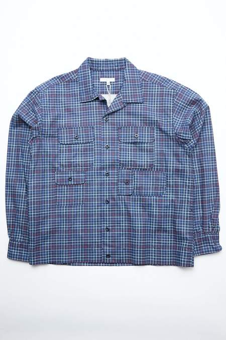 Engineered Garments Cotton Bowling Shirt - Navy Printed Tattersall