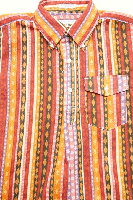 Engineered Garments Cotton Popover BD Shirt - Orange Lawn Batik Stripe