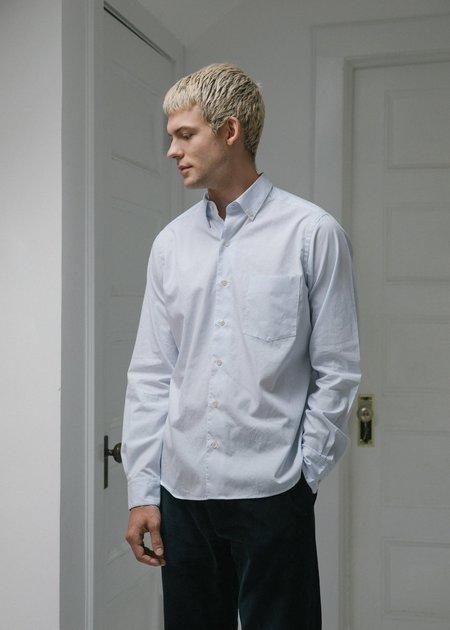 Steven Alan Single Needle Shirt - Blue Pencil Stripe