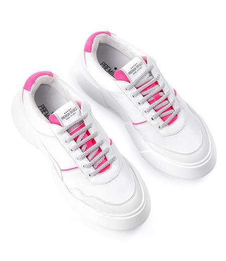 Premium Basics Lace Up Sneaker - White/Pink
