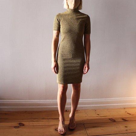 Nomia Short Sleeve Mockneck Midi Dress - Gold Lurex