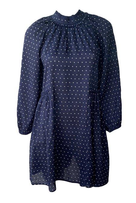 Apiece Apart Yaso Flit Mini Dress - Navy Polka Dot