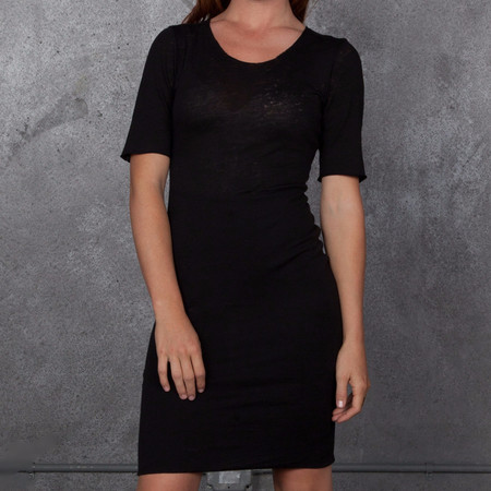 Raquel Allegra Burnout Black Dress