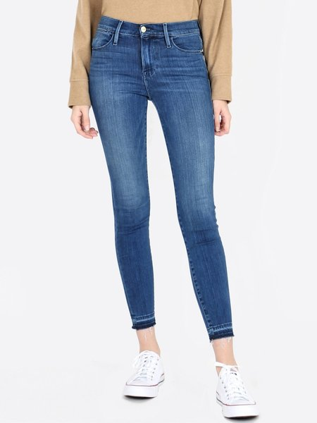 FRAME Denim Le High Skinny Crop Raw Hem Jeans - Edgewater