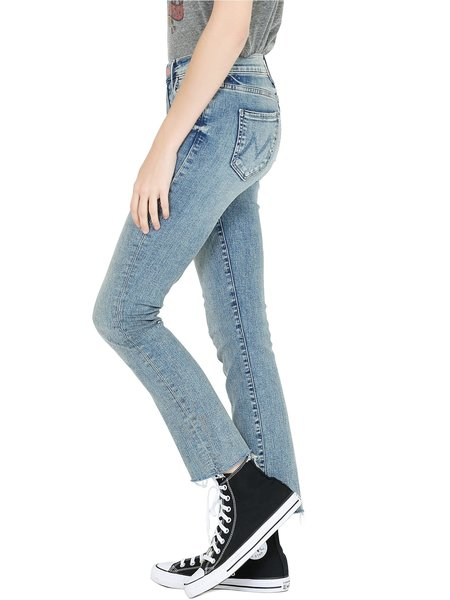 Mother Denim Rascal Ankle Fray Jeans - Bonefire Lighting