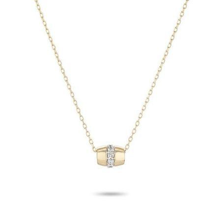 Adina Reyter Super Tiny Stripe Pave Barrel Necklace - Yellow Gold