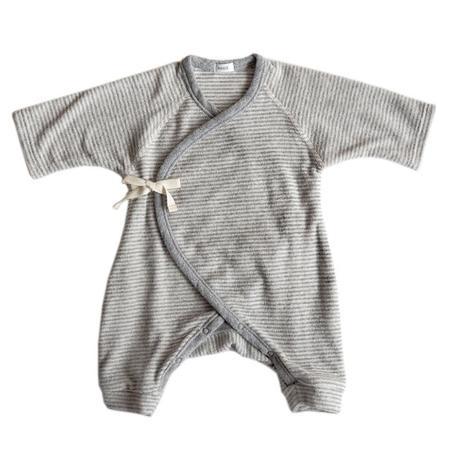 Kids Makie Layette Terry Hadagi Romper - Grey Stripes