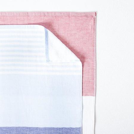 Morihata YT Tricolour Chambray Bath Towel - Blue