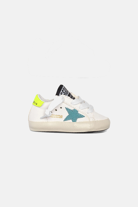 kids Golden Goose Toddler Superstar Shoes - White/Turqouise Heel/Flourecent Star