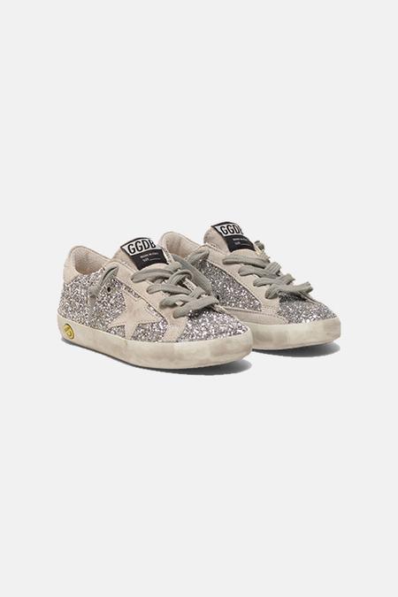 Kids Golden Goose Superstar Shoes - Silver Glitter/Ice suede Star
