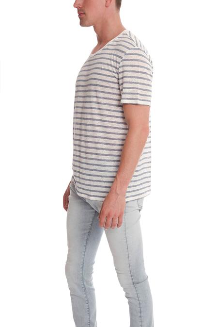 ATM Stripe Linen T-Shirt - Blue