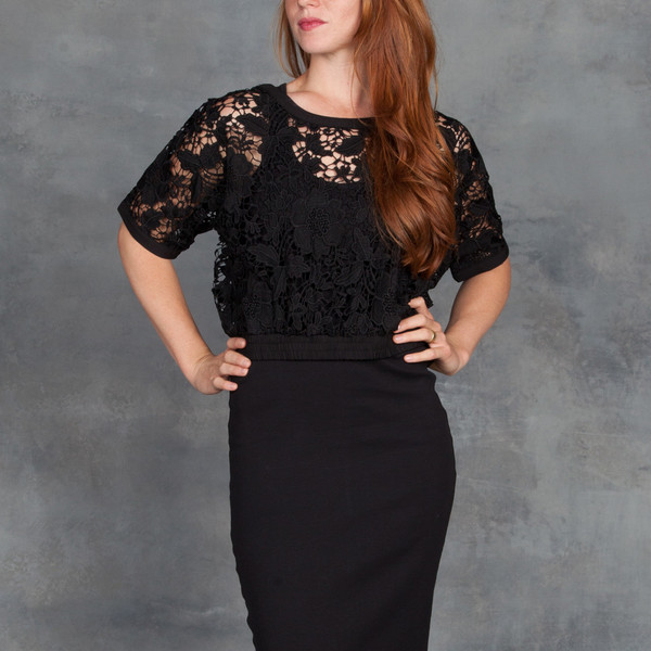 SEN Sage Top in Embroidered Lace in Black