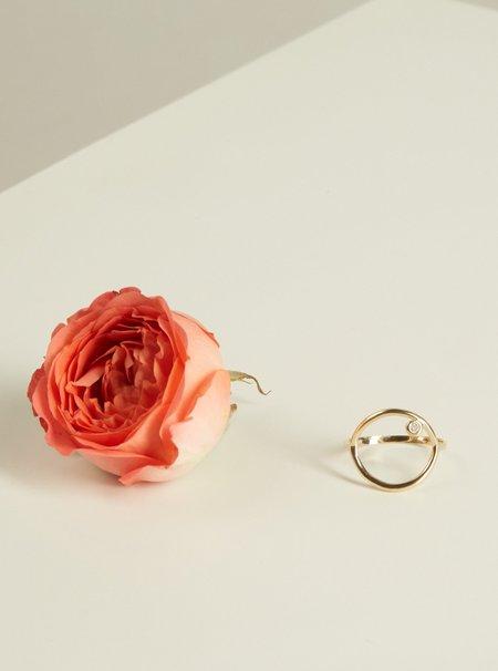 The Thorny Roses Circle Ring w/Diamond - 14k Gold