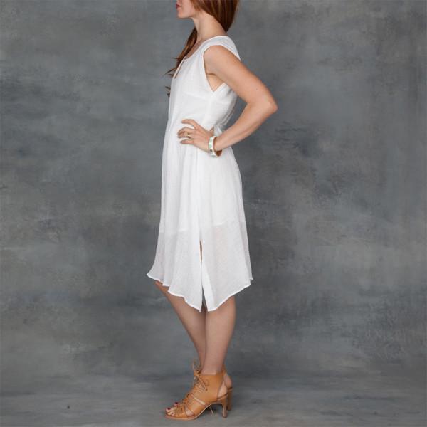 Skin Aila Sleeveless Dress in White Cotton Gauze