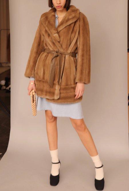 Vintage Faux Fur Leather Wrap Coat