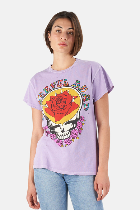 MadeWorn Rock Grateful Dead Rose T-Shirt - Lilac