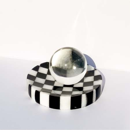 MATTER MATTERS Checkered Marble Ashtray with Crystal Ball