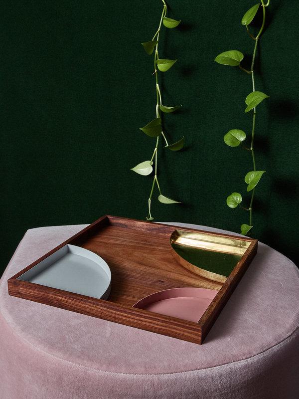 AYTM Oak or Walnut Tray with Brass Insert